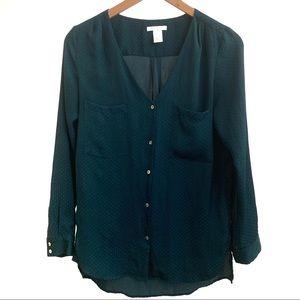 H&M Semi Sheer Long Sleeve Button Down Blouse